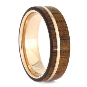 KOA WOOD TUNGSTEN WEDDING BAND WITH 14K ROSE GOLD-3109 - Cairo Men's Wedding Rings