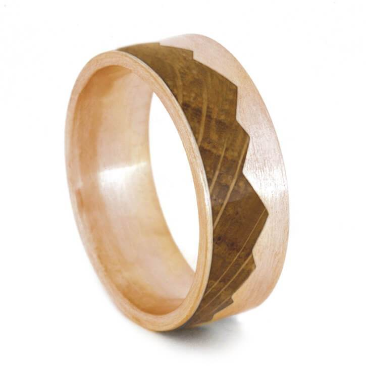 ROSE GOLD MOUNTAIN RING WITH WHISKEY BARREL OAK-2695 - Cairo Men's Wedding Rings
