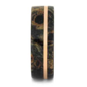 ROSE GOLD RING WITH BUCKEYE BURL WOOD-1755 - Cairo Men's Wedding Rings