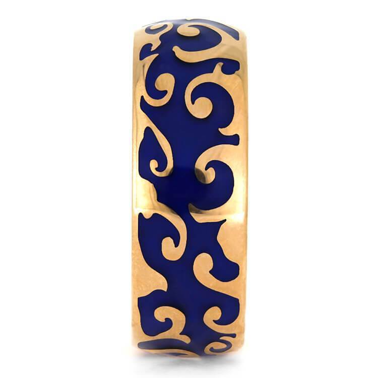 ROSE GOLD RING WITH BLUE ENAMEL DECORATION-3843 - Cairo Men's Wedding Rings