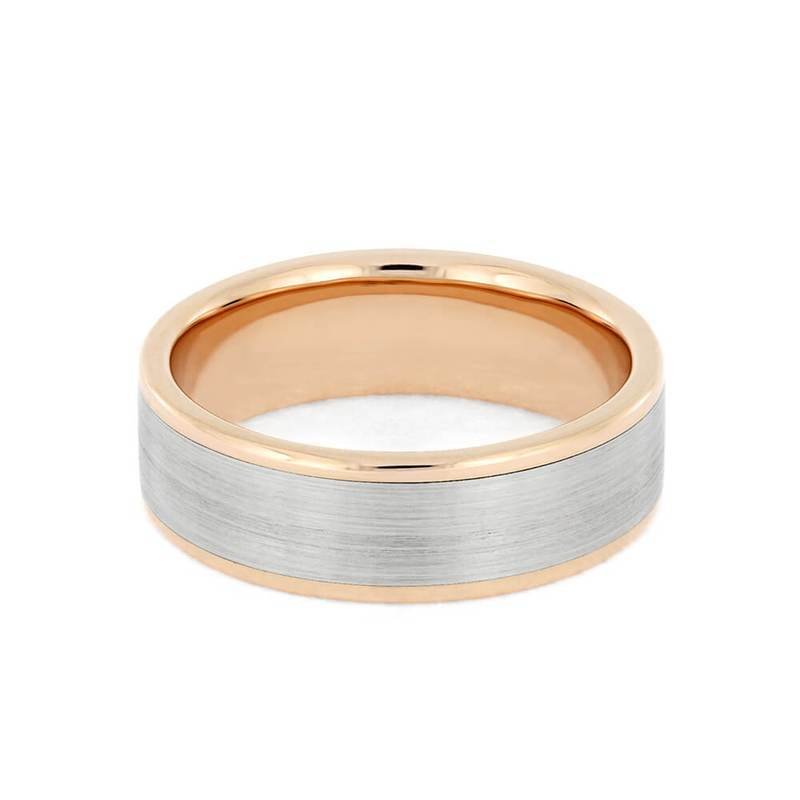 Rose Gold Wedding Band With Brushed White Gold Accent Solid Metal Rin Cairo Men S Wedding Rings
