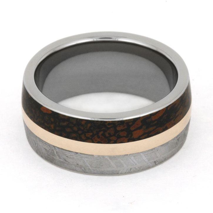 METEORITE AND DINOSAUR BONE WEDDING BAND-3226 - Cairo Men's Wedding Rings