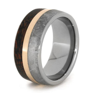 ROSE GOLD WEDDING BAND WITH DINOSAUR BONE AND METEORITE-1781 - Cairo Men's Wedding Rings