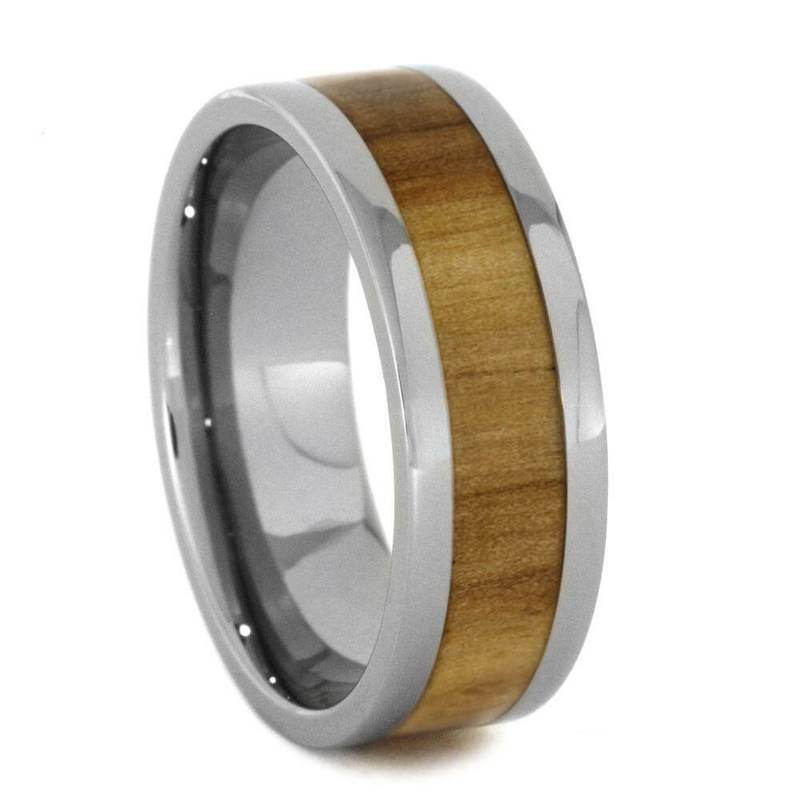 ROWAN WOOD WEDDING BAND, TITANIUM RING-2689 - Cairo Men's Wedding Rings