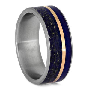 BLUE RING, LAPIS LAZULI WEDDING BAND WITH ROSE GOLD-3683 - Cairo Men's Wedding Rings