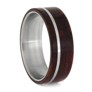 RUBY REDWOOD WEDDING BAND, TITANIUM RING-2675 - Cairo Men's Wedding Rings