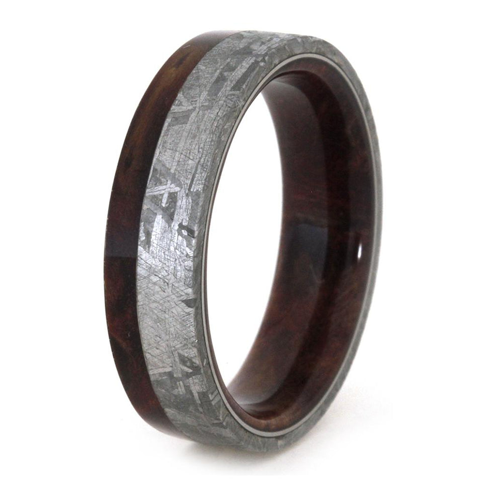 RUBY REDWOOD WEDDING BAND WITH METEORITE-3158 - Cairo Men's Wedding Rings