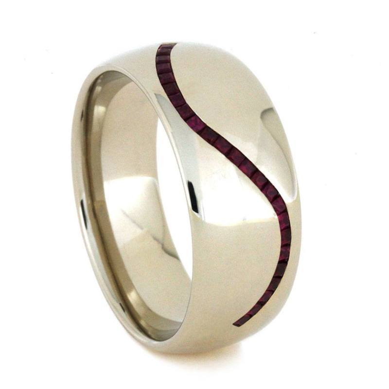RUBY WEDDING BAND FOR MEN IN WHITE GOLD-3170 - Cairo Men's Wedding Rings