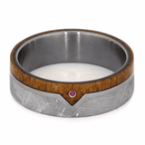 RUBY WEDDING BAND WITH METEORITE AND MAHOGANY-2206 - Cairo Men's Wedding Rings