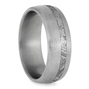 RUGGED MEN'S METEORITE WEDDING BAND WITH BRUSHED FINISH-3866 - Cairo Men's Wedding Rings