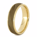 SANDBLASTED GOLD WEDDING BAND WITH GROOVE DESIGN-2083 - Cairo Men's Wedding Rings