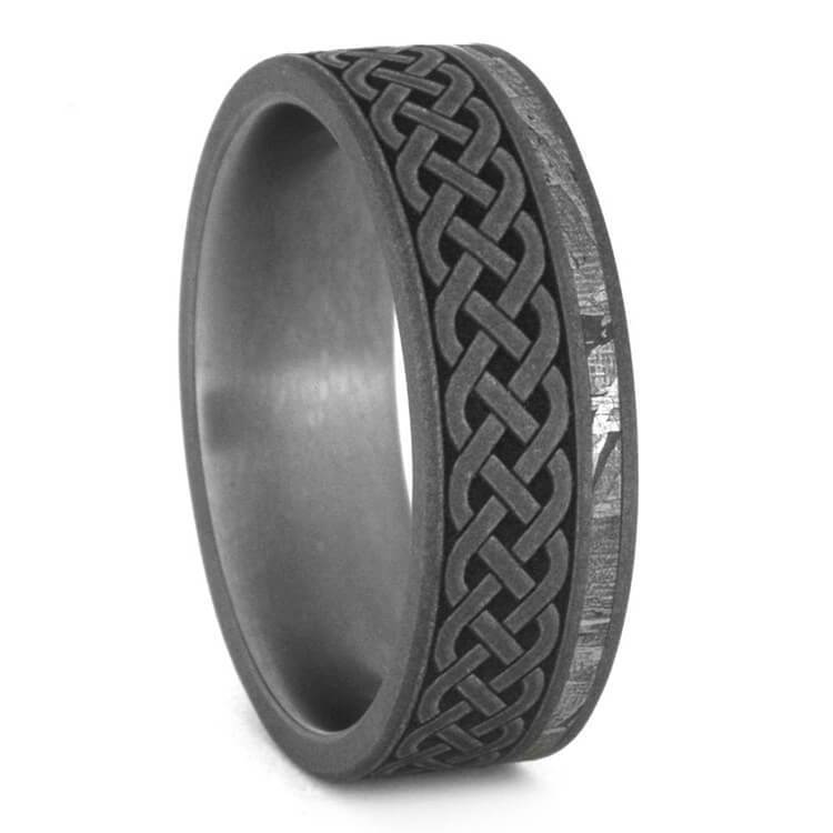 SANDBLASTED CELTIC RING, METEORITE JEWELRY-3498 - Cairo Men's Wedding Rings