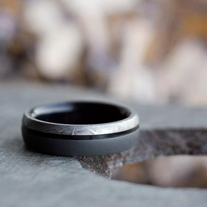 SANDBLASTED MEN'S TITANIUM RING WITH METEORITE AND EBONY-2493 - Cairo Men's Wedding Rings