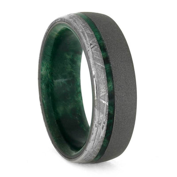 SANDBLASTED WEDDING BAND WITH GREEN BOX ELDER WOOD AND METEORITE-3858