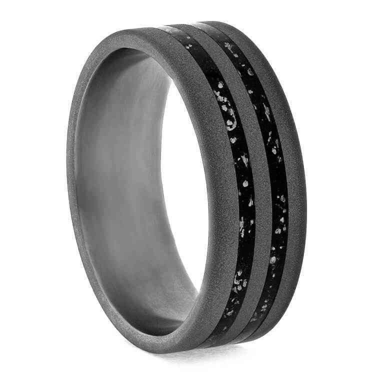 SANDBLASTED TITANIUM WEDDING BAND WITH BLACK STARDUST-3673 - Cairo Men's Wedding Rings