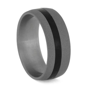 SANDBLASTED TITANIUM RING WITH EBONY PINSTRIPE-3634 - Cairo Men's Wedding Rings