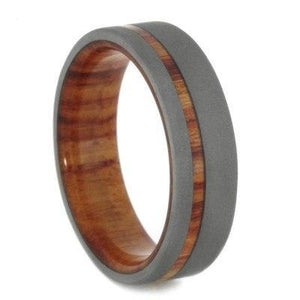 SANDBLASTED TITANIUM RING WITH TULIPWOOD-1907 - Cairo Men's Wedding Rings