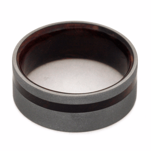 SANDBLASTED TITANIUM WEDDING BAND WITH WOOD-2262 - Cairo Men's Wedding Rings