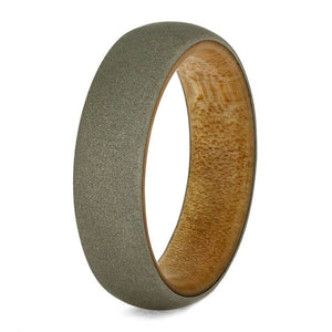SANDBLASTED WHITE GOLD RING, WEDDING BAND WITH BAMBOO SLEEVE-3716 - Cairo Men's Wedding Rings