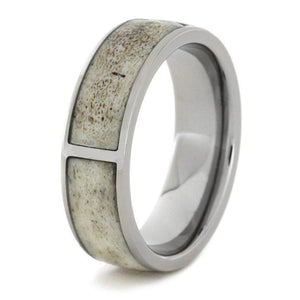 SECTIONED DEER ANTLER RING, TITANIUM WEDDING BAND-1739 - Cairo Men's Wedding Rings