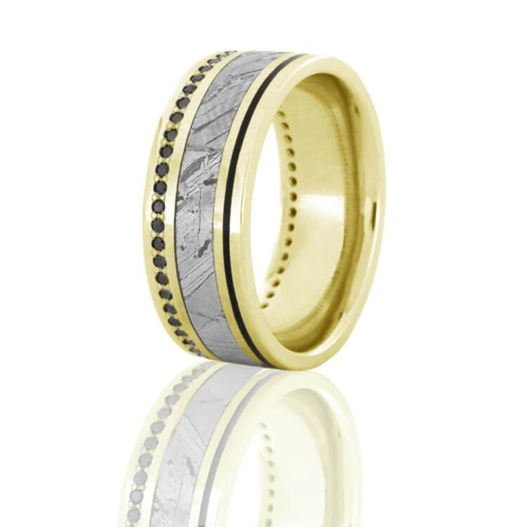 SEYMCHAN METEORITE ETERNITY RING, BLACK DIAMOND BAND WITH GOLD-DJ1022YG - Cairo Men's Wedding Rings