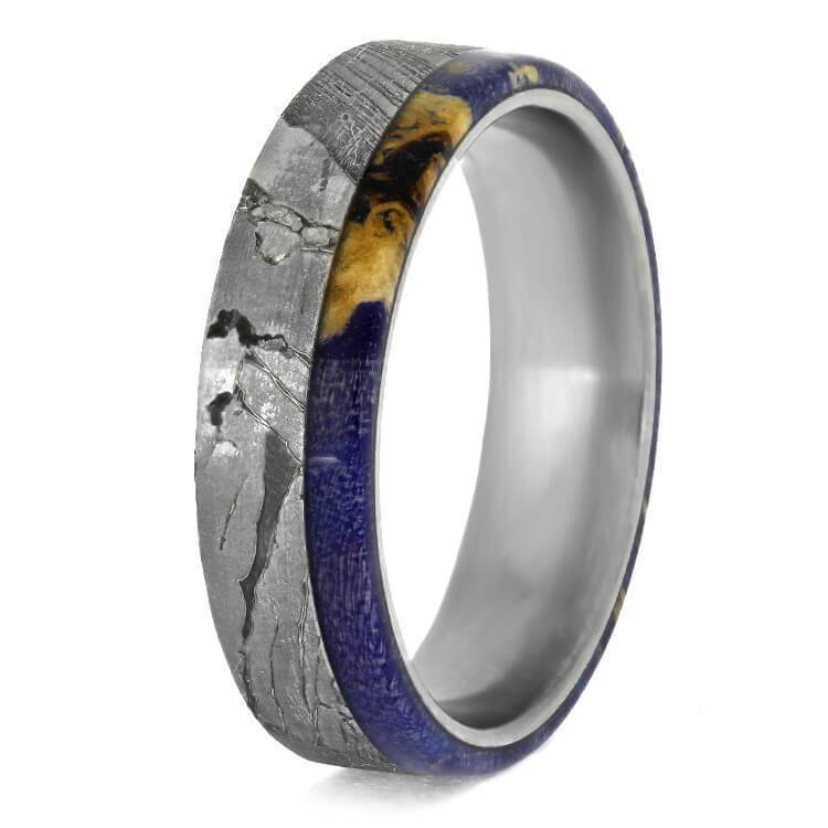 SEYMCHAN METEORITE WEDDING BAND WITH BLUE BOX ELDER-2379 - Cairo Men's Wedding Rings