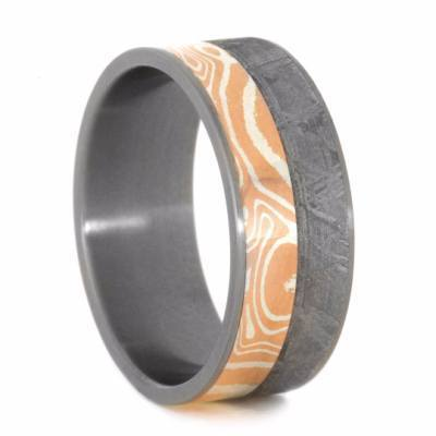 SILVER AND COPPER MOKUME GANE RING WITH METEORITE-2104 - Cairo Men's Wedding Rings