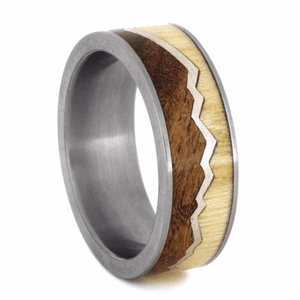 SILVER CAPPED MOUNTAIN RING WITH ASPEN WOOD AND MESQUITE WOOD-2191 - Cairo Men's Wedding Rings
