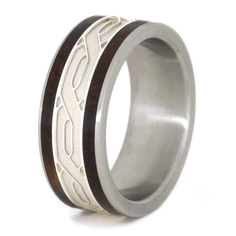SILVER CELTIC KNOT RINGS WITH HONDURAN ROSEWOOD BURL-1810 - Cairo Men's Wedding Rings