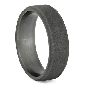 TITANIUM WEDDING BAND WITH SANDBLASTED FINISH AND BEVELED EDGES-3684 - Cairo Men's Wedding Rings