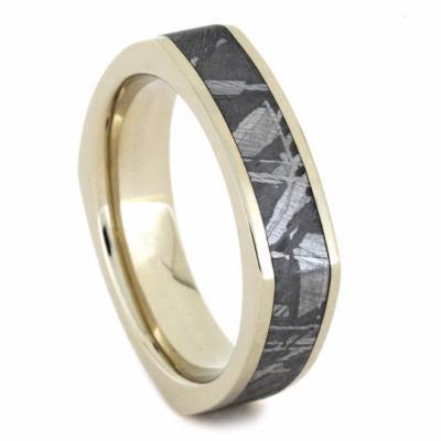 WHITE GOLD WEDDING BAND WITH METEORITE-2186