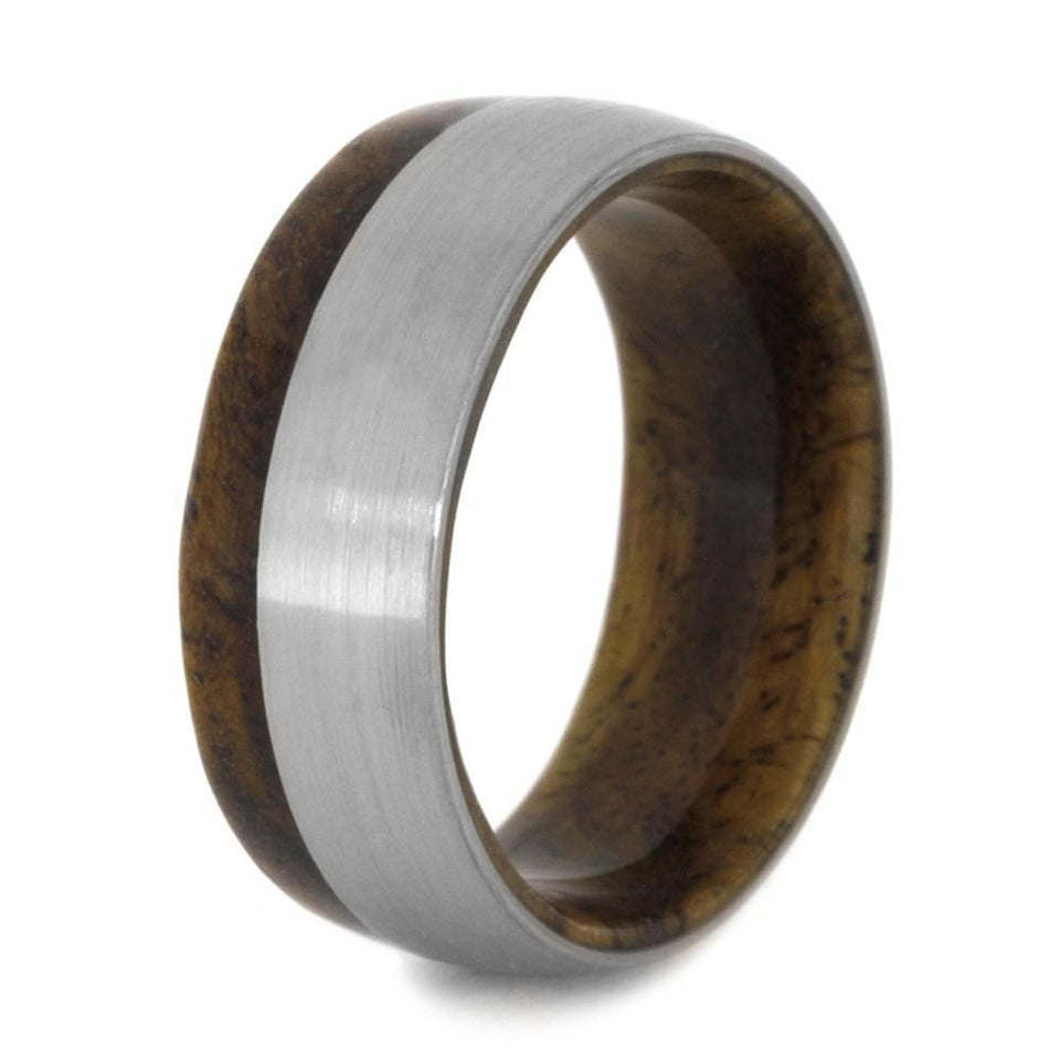 SINDORA WOOD WEDDING BAND WITH TITANIUM-2029 - Cairo Men's Wedding Rings
