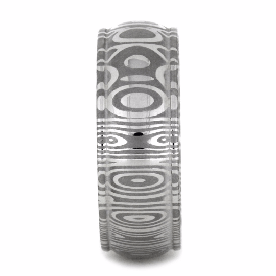 STAINLESS STEEL DAMASCUS WEDDING BAND-2158
