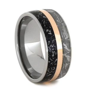 STARDUST METEORITE WEDDING BAND WITH ROSE GOLD IN TITANIUM-2827 - Cairo Men's Wedding Rings