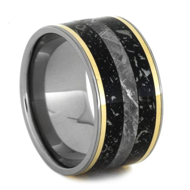STARDUST RING WITH METEORITE AND YELLOW GOLD IN TITANIUM-2862 - Cairo Men's Wedding Rings