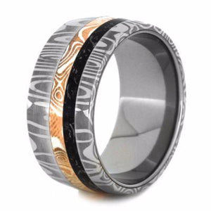 STEEL RING WITH COPPER AND SILVER MOKUME, BLACK STARDUST RING-2129 - Cairo Men's Wedding Rings