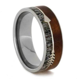 SILVER ARROW RING WITH DEER ANTLER AND IRONWOOD BURL IN TITANIUM-1842 - Cairo Men's Wedding Rings