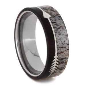 STERLING SILVER ARROW RING WITH IRONWOOD AND ANTLER-2133 - Cairo Men's Wedding Rings