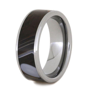 STONE RING, TUNGSTEN WEDDING BAND WITH AGATE-2821 - Cairo Men's Wedding Rings