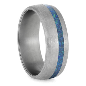 SYNTHETIC OPAL WEDDING BAND, BRUSHED RING-4229 - Cairo Men's Wedding Rings