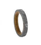 THIN METEORITE WOMEN'S WEDDING BAND WITH WHISKEY BARREL WOOD SLEEVE-4304 - Cairo Men's Wedding Rings