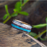 UNIQUE WEDDING BAND WITH TURQUOISE, METEORITE, DINOSAUR BONE AND WHISKEY OAK WOOD SLEEVE-2599 - Cairo Men's Wedding Rings