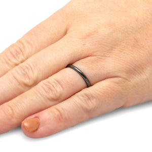Womens Wedding Band, Thin Black Ceramic Ring-THC684-DPB