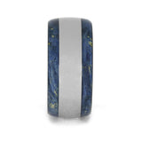 THICK TITANIUM WEDDING BAND WITH BLUE BOX ELDER BURL-3947 - Cairo Men's Wedding Rings