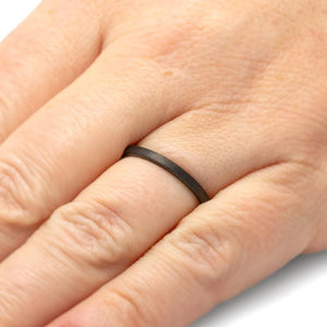 Womens Wedding Band, Thin Black Ceramic Ring, Flat Profile-THW589-FBBT