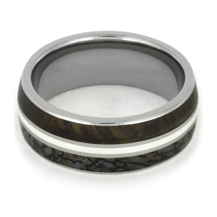 TIGERS EYE RING FEATURING DINOSAUR BONE AND STERLING SILVER-1778 - Cairo Men's Wedding Rings