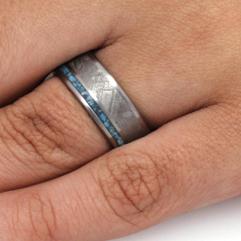 TITANIUM AND METEORITE WEDDING BAND WITH TURQUOISE-3291 - Cairo Men's Wedding Rings