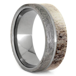 TITANIUM ANTLER AND METEORITE RING-1474 - Cairo Men's Wedding Rings