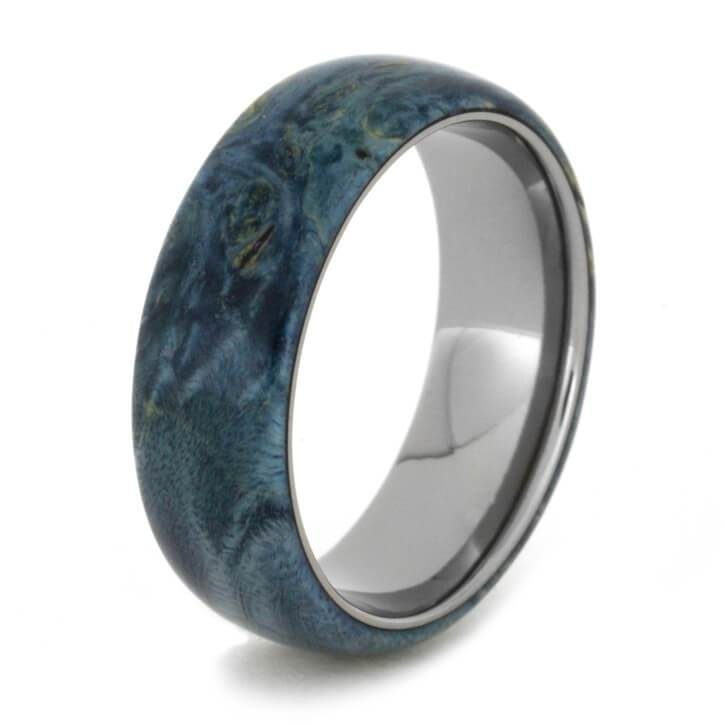 TITANIUM BAND WITH BLUE BOX ELDER BURL-2506 - Cairo Men's Wedding Rings