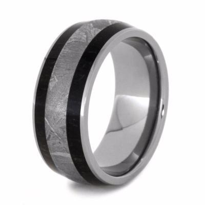 TITANIUM MAN RING WITH METEORITE AND BLACKWOOD INLAYS-2042 - Cairo Men's Wedding Rings